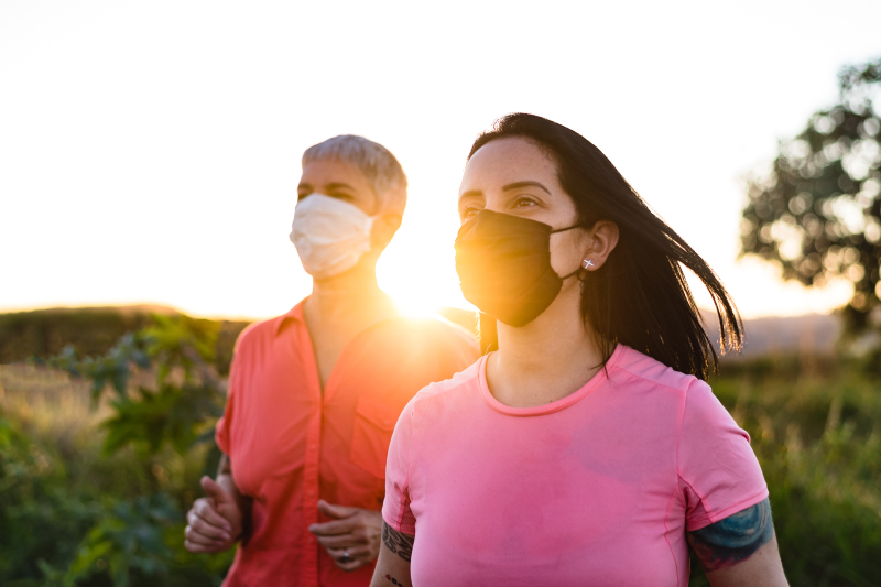 joggers wearing masks